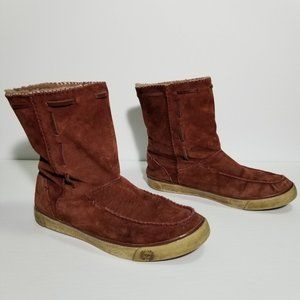 UGG 3320 Suede Pull On Sherpa Lined Ankle Boots